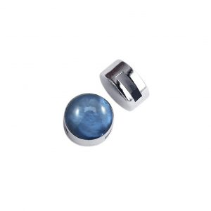 Schuifkraal zilver met cabochon shine night blue